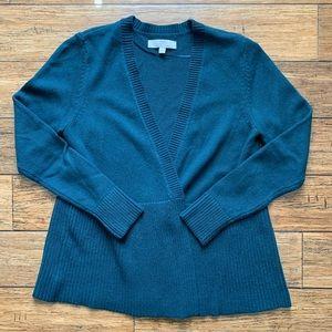 Hunter Green Open Front Cardigan Sweater